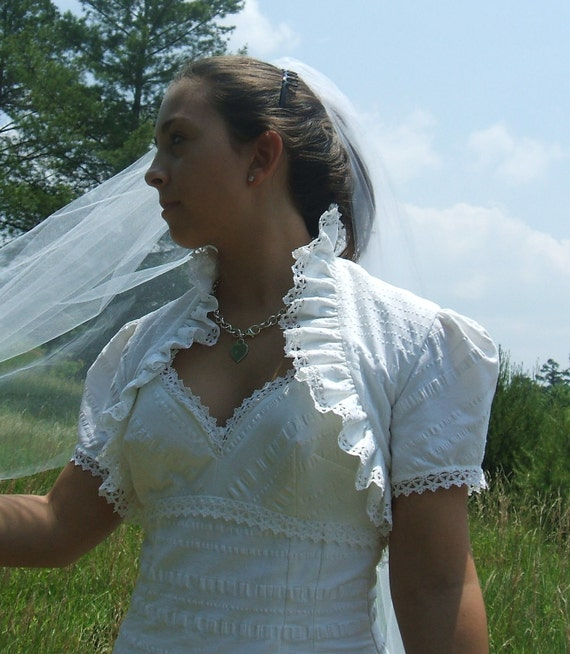Seersucker and Lace Romantic Ruffled Wedding Dress and Bolero vintage cotton fabric for your beach or country wedding