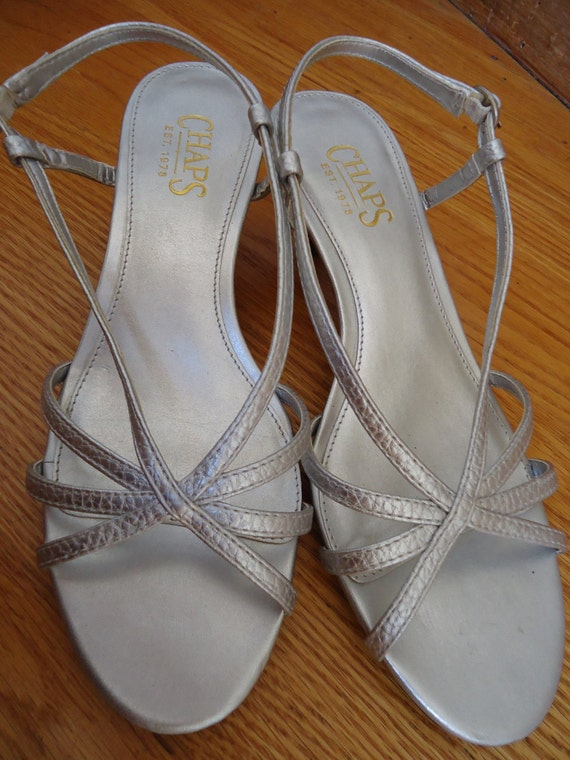 Metallic silver strappy sandals evening wedding formal casual dress up like new by Chaps size 7.5 M
