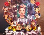 "Frida Kahlo Inspirational Shrine 10""x7""x6"" Mexican style Folk Art SELF-PORTRAITS"