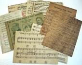 Vintage Sheet Music: Antique Ephemera, 10 Pieces