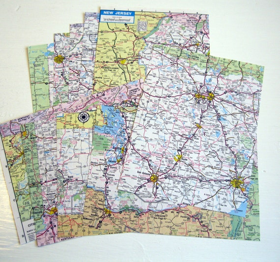 Vintage Maps, Atlas Road Maps, 10 Pieces for your Project