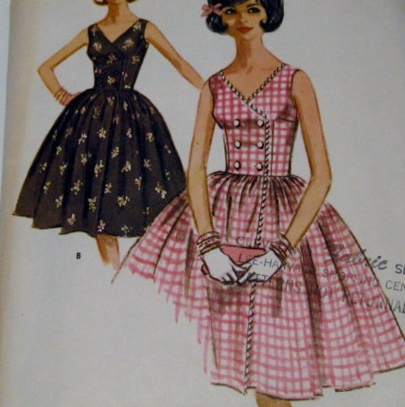 Vintage Sewing Pattern: McCalls 6318 Party Dress, 1960s Double Breasted