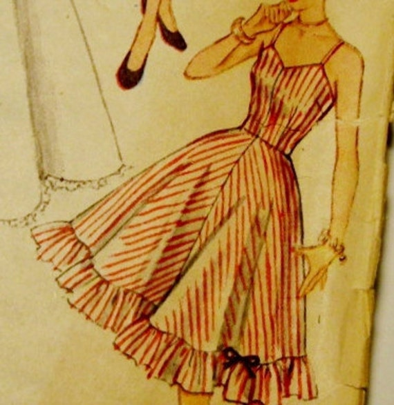 Vintage Sewing Pattern: Slip, Petticoat, and crinoline Simplicity 3766, 1951