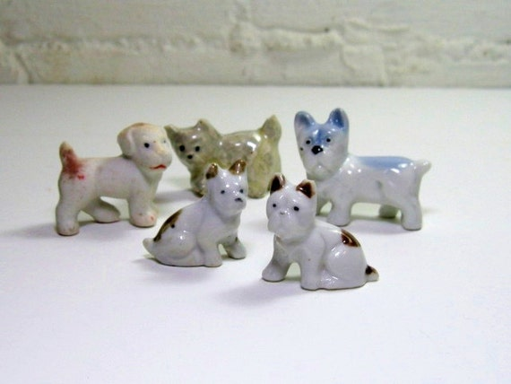 Vintage Dog Figurines: Five China Dogs, Instant Collection Made in Japan