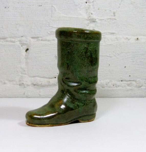 Vintage Equestrian Decor: Ceramic Boot, Green Pottery Boot