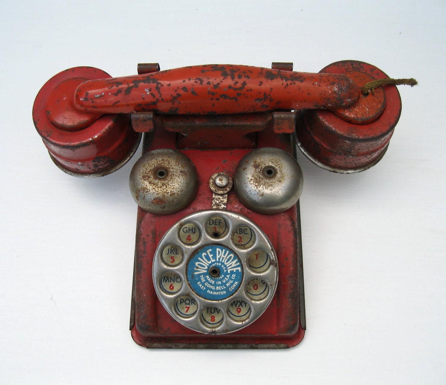 Toys From The 40s : Vintage toy telephone red metal voice phone s era