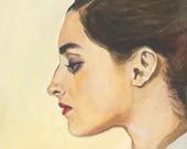 Giulietta - original gouache painting  - portrait painting - watercolor painting - wall decor -Fine Art