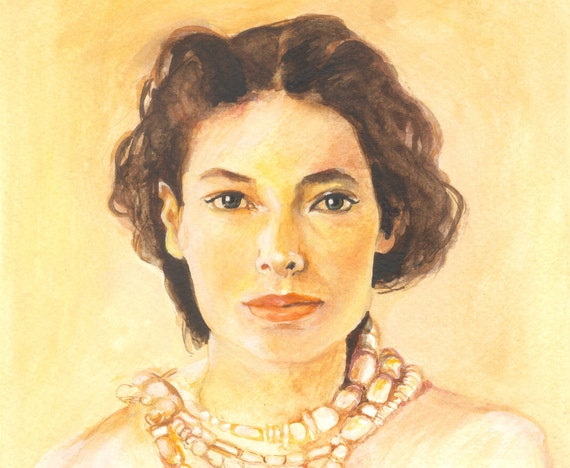 Gentle Brown Haired Lady - original gouache painting - Fine Art - portrait