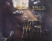 "Cafe, table, chairs, window, light rays, coffee house. Quiet Place, Refresh- original Watercolor painting 11"" x 12""."