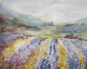 "Landscape, Provence, farm, Tuscany, villa, purple. Over The Lavender Knoll- Original Watercolor Painting 12"" x 16""."