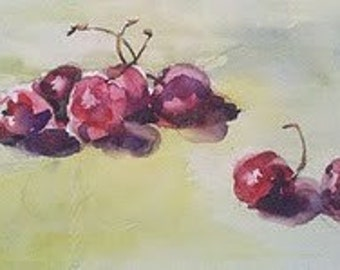 Still life, cherry, fruit, red, yellow. SALE. Now 30% off- Rollie Pollie Cherries- Original Watercolor Painting  4.5 x 9.5.