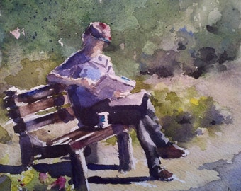 "Figurative, man, coffee, park bench, newspaper, red hat. Morning Ritual- Original Watercolor Painting (6"" X 6"")."