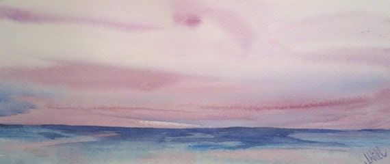 "Landscape, seascape, ocean, beach, blue, nautical art. SALE. Now 30% off- Pretty in Pink- Original Watercolor Painting 5"" x 11.5""."