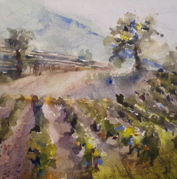 "Wine Country -Original Watercolor Painting 6"" x 6"""