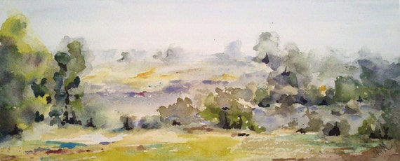 """Landscape, Sale. Now 30% off...In the Distance- original watercolor painting (4"""" x 10"""")"""