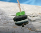 Beach Short Stack - Genuine beach stone and sea glass necklace