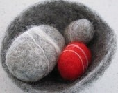 Grey and Red Felted Fantasy Pebbles Gift Set