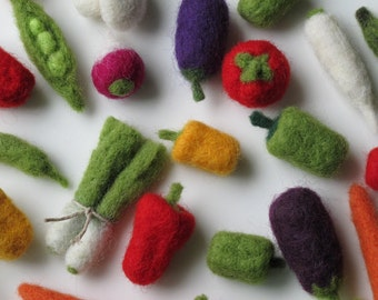 Felted vegetables-Gift set of 21 miniature veggies