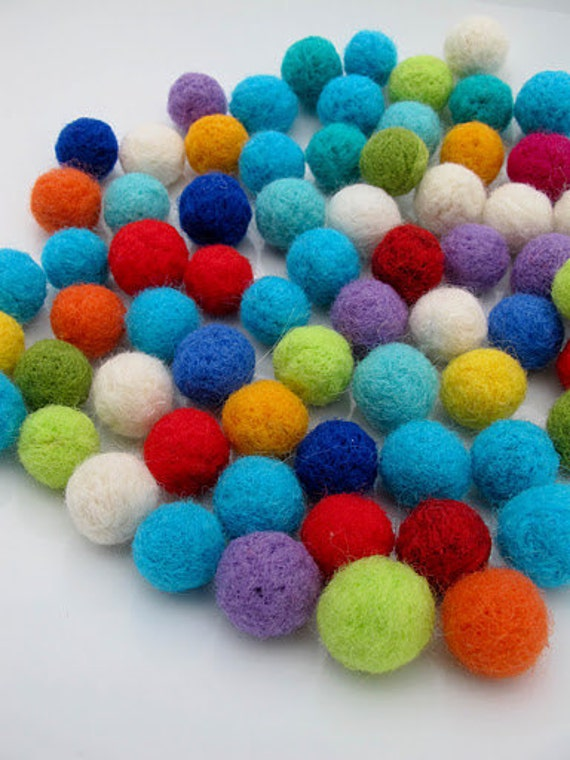 Felted Wool Balls. 50ct. Multicolored Crafts Projects Garlands