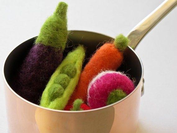 Felted Wool  Vegetable - 6 pieces of your choice