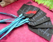 CLEARANCE 6 Black Thanks Tags with Teal Raffia on Handmade Paper