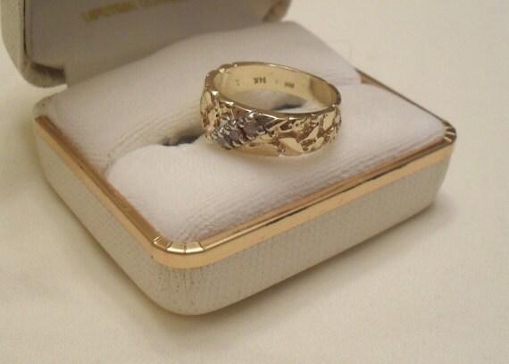 Vintage 14K Gold Nugget Womens Wedding Band Size 7