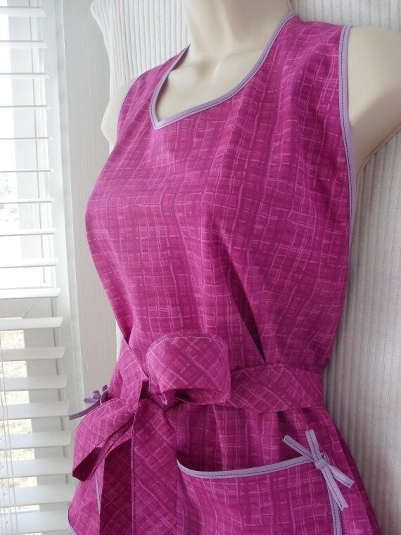 Lavender Violet Full Apron - Vintage Inspired Small to XL Petite