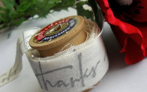 THANKS Hand Stamped Muslin Ribbon - Silver
