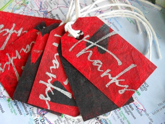 Red Thank You Tags - Handmade Paper Red Front & Black Back set of 6