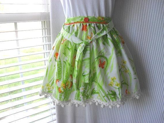 Half Apron Love - Summertime Butterflies Repurposed Fabric