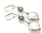 Coin Pearl & Sterling Silver Bali Bead Earrings