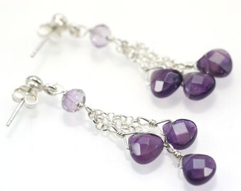 Amethyst Triple Treasure Earrings