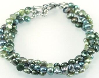 Freshwater Pearl Twist Bracelet - Lime