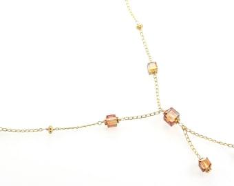 Swarovski Crystal Square Necklace - Amber