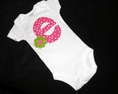 Custom -2 Girl shirts with hot pink and lime green polka dot print personalized birthday number or name initial applique in sizes NB - 16