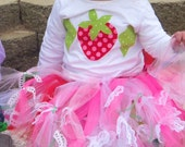 Original one of  kind - Fresh strawberry shortcake red, pink, green petti skirt tutu with flower, lace - sizes 12 m 18 m 2t  3t 4t 5T 6