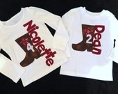 Western cowgirl or cowboy shirt with brown cowboy boot with star and birthday number personalized with name NB - 16