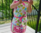 Kid's birdie personalized appliqued pretend play apron smock for toys, cooking tools, art supplies - for children 12 months to 6