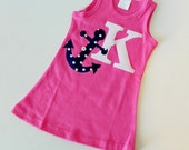 Anchors away summer, hot pink knit tank dress with navy blue polka dot anchor, personalized with initial or number - sizes 2- 7