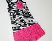 New for summer purple or hot pink knit ruffles on funky zebra tank dress with twisted flower for baby, toddler and girl in sizes 3 mo. - 5/6