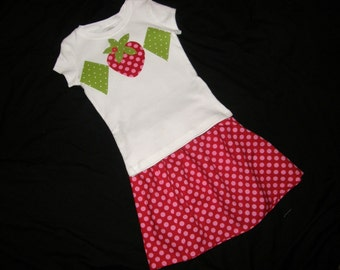 2 piece Strawberry shortcake Tween, girl, toddler, SHIRT with strawberry and diamond applique, pink and red polka dot SKIRT sizes NB - 16