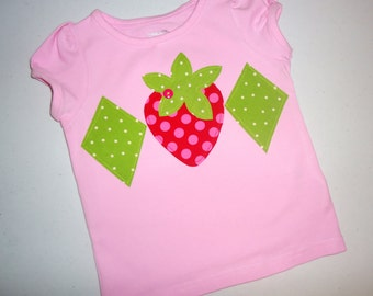 Strawberry shortcake Tween, girl, toddler or baby knit light pink SHIRT with strawberry and diamond applique sizes NB - 16