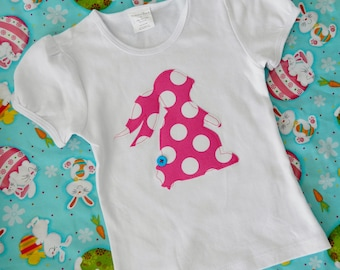 Adorable Easter SHIRT with bunny rabbit applique in designer pink polka dots- sizes NB - 16 - fun for Easter pictures