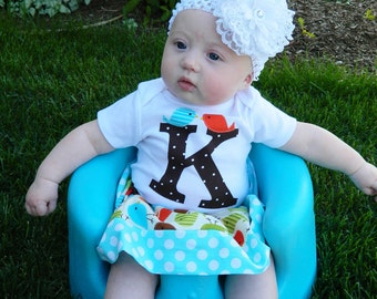New Fall -3 Piece Outfit - shirt personalized birthday number / initial and brown, blue, green, orange birdie skirt, and bow sizes NB - 16