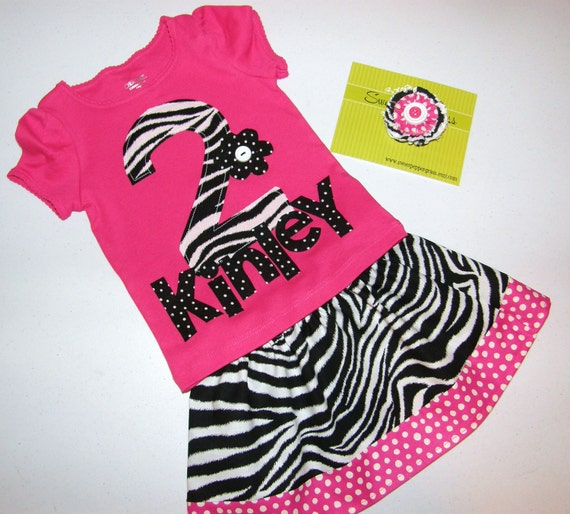 3 piece outfit - Girl t-shirt zebra print number or initial personalized name applique with zebra skirt in girl sizes NB - 16 and a bow