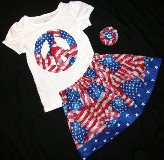 3 piece outfit - Designer fabric by Robert Kaufman patriotic flag 4th of July skirt, white peace sign shirt, and matching bow for baby, girls and tweens in sizes NB 3m 6m 9m 12m 18m 24m 2T 3T 4T 5T 6 7 8 10 12 14 -  Fun for fireworks and summer pictures