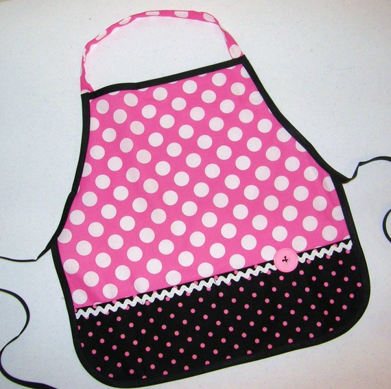 Kid's pink polka dot pretend play apron smock for toys, cooking tools, art supplies or any other treasures - for children 12 months to 6