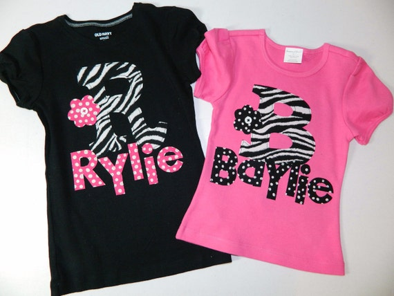 Baby, girl, teen shirt with zebra print inital with personalized name applique in girl sizes 12 m - 16- teen, adult XS - XXL
