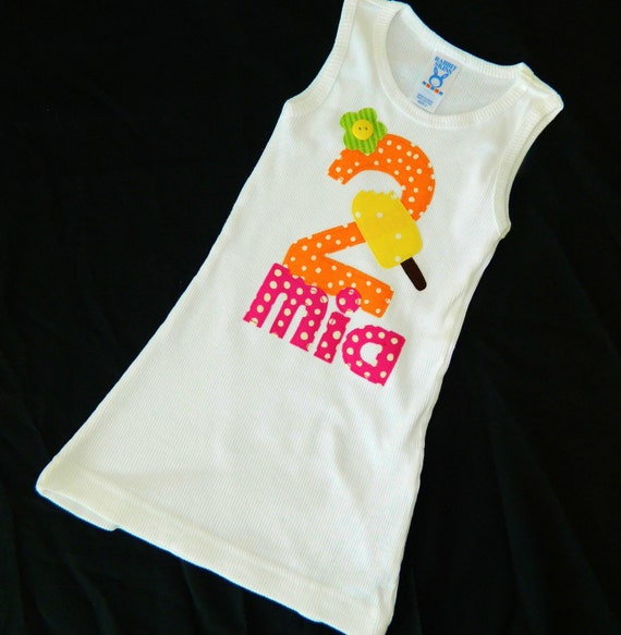 Girl's summer white tank dress with yellow popcicle, orange polka dot birthday number applique with hot pink personalized name size 12m -6