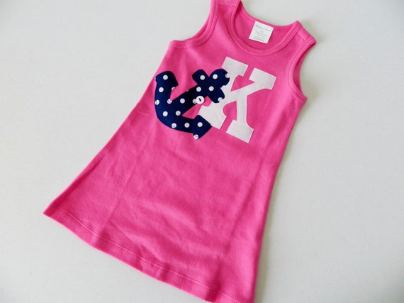 Anchors away summer, hot pink knit tank dress with navy blue polka dot anchor, personalized with initial or number - sizes NB- 5T